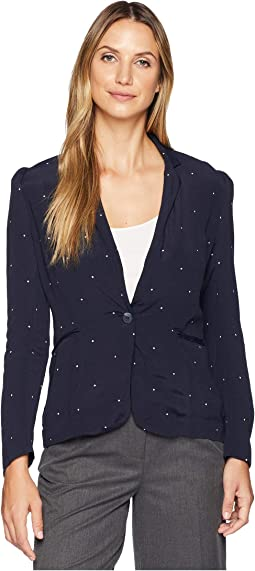 Soho Pindot Notch Collar One-Button Blazer