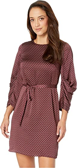 Petite Drapey Long Sleeve Trinket Geo Tie Waist Dress