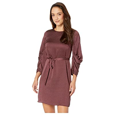 Vince Camuto Specialty Size Petite Drapey Long Sleeve Trinket Geo Tie Waist Dress (Port) Women