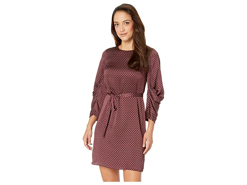 Vince Camuto Specialty Size Petite Drapey Long Sleeve Trinket Geo Tie Waist Dress (Port) Women