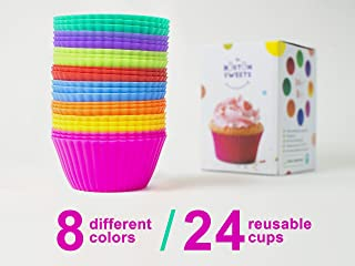 The Boston Sweets Silicone Cupcake Liners - 24 Pack Baking Cups- EIGHT colors - Reusable & Nonstick Muffin Molds - Cupcake Holders Gift set - Pink Purple Blue Red Green Fun Green Yellow Orange Muffin