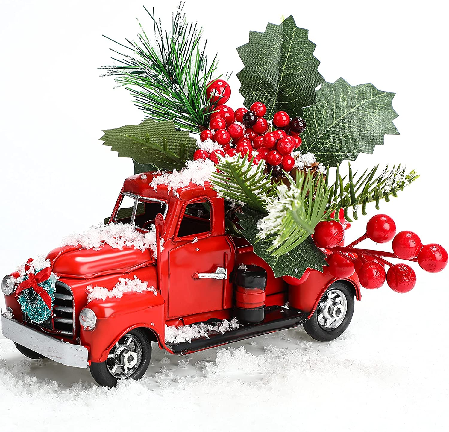 Christmas Vintage Red Truck Decor Farmhouse Metal Pickup Truck Decor with Artificial Pine and Small Christmas Wreath Handcrafted Red Metal Truck Car Model for Christmas and Table Decoration
