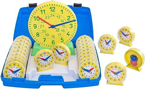 Unbekannt Wissner Uhren Klassensatz, 1 Lehrer  0 - und 24 Schüleruhren  1, synchron laufendem Zeigerwerk, in blauem Kunststoffkofür