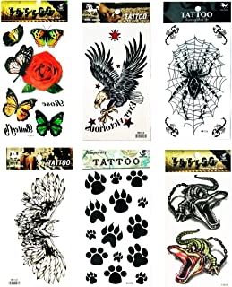NipitShop Tattoos 6 Pcs Red Roses and Butterfly Falcon Eagle Owl Bird Spider Web Crocodile Animal Cat Dog Foot Cartoon Tattoos Stickers 3D Waterproof Body Art Arm Hand Temporary Tatoo