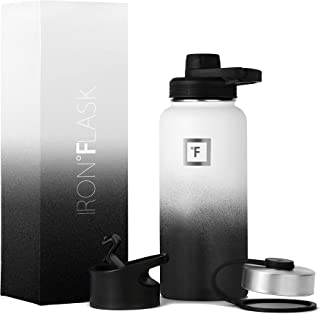 IRON °FLASK Sports Water Bottle - 32oz, 3 Lids (Spout Lid), Vacuum Insulated Stainless Steel, Hot...