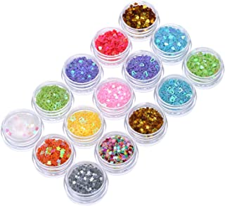 Hotop 15 Pots Nail Art Decoration Glitter Dust Powder Paillette Sequins, Acrylic UV Gel False Tips Nail Art Salon Tool Set