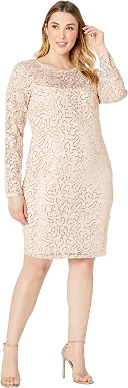 Plus Size Long Sleeve Glitter Sequin Stretch Lace Dress