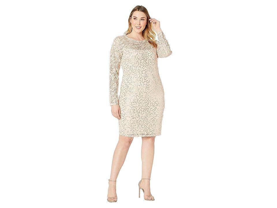MARINA Plus Size Long Sleeve Glitter Sequin Stretch Lace Dress (Peach) Women