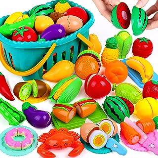 OCATO 70PCS برش خوراکی تنظیم شده برای کودکان و نوجوانان اسباب بازی های آشپزخانه اسباب بازی های برش خوراکی میوه ها و سبزیجات با سبد ذخیره سازی غذای جعلی وانمود بازی لوازم جانبی آشپزخانه اسباب بازی برای کودکان نوپا پسران دختران هدایای کریسمس