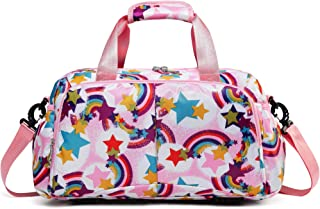 Small Sport Duffle Bag for Kids Little Girls Overnight Weekend Duffle for Short Travel Carry On Bag (Small,Rainbow-pink)