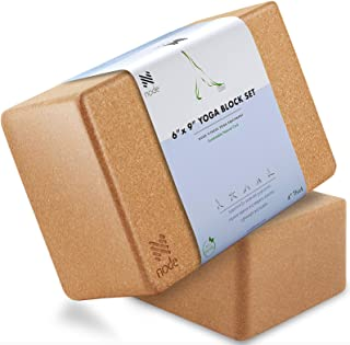Cork Yoga Block (Set of 2) - Solid Natural Cork Exercise Brick - 9 x 6 x 4 Inches