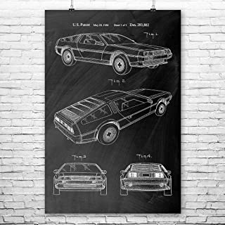 Delorean DMC-12 Poster Print, Back to The Future, Car Collector, Automotive Engineer, Doc Brown, Marty McFly, Sports Car Chalkboard (Black) (8
