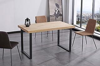 Skraut Home - Table à Manger Fixe, Salon, modèle NORDISH, chêne Massif Nordique de 54 mm d'épaisseur, Pieds métalliques, 1...