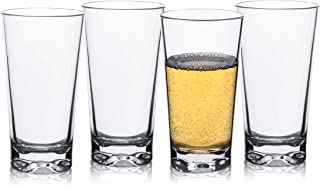 12 OZ Unbreakable Plastic Water Rocks Glasses Clear Tritan Drinking Tumblers Double Old Fashioned Glasses, Set of 4, Shatterproof, BPA-FREE, Dishwasher safe