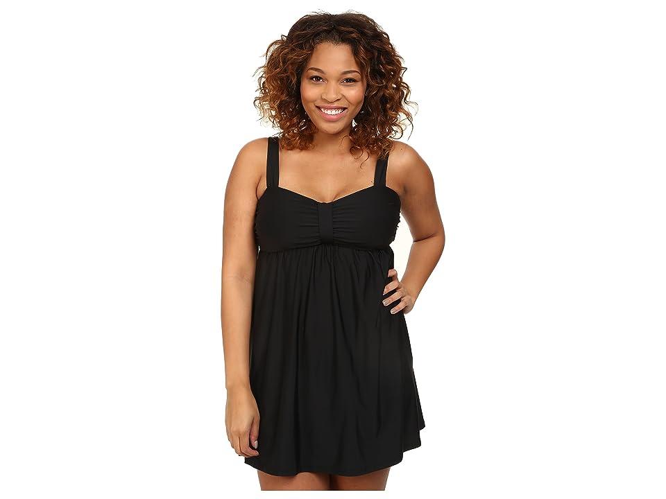 Athena Plus Size Finesse Underwire Swim Dress One-Piece (Black) Women