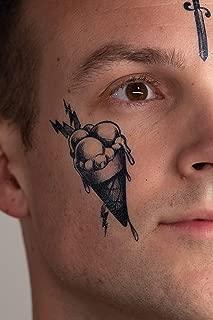 Thug Ink Temporary Tattoos - Volume II - 6 Temporary Tattoos ~ Face Tattoos ~ Ice Cream Cone, Dagger, Crown, Cross, etc ~ Thug Life ~ Fake Tattoos ~ Water-Transfer Tattoos