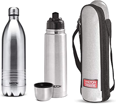 Milton Thermosteel Duo Deluxe-1000 Bottle Style Vacuum Flask, 1 Litre, Silver + Milton Thermosteel Flip Lid Flask, 750 milliliters, Silver