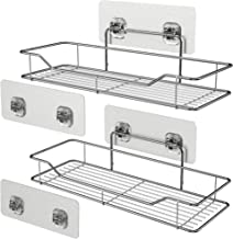 Bathroom Wall Shelves, Veckle Adhesive Shelf Bathroom Shower Caddy Traceless Kitchen Wall Mounted Rack No Drilling Storage Organizer Stainless Steel Shelf 2 Pack