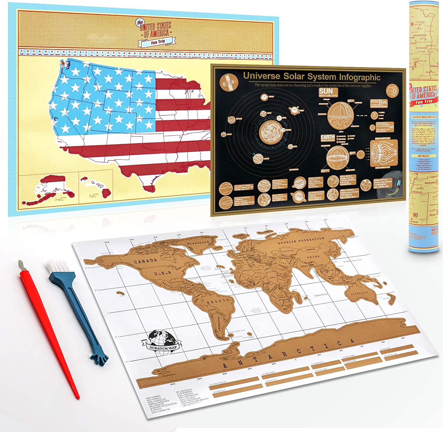 safety XL Oklahoma City Mall Scratch Off World Map of The Stat United +