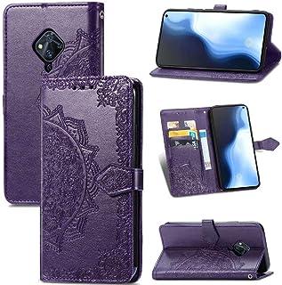 FlipBird ケース Compatible with Vivo S5 3D Bling Flower Embossed カードホルダー付きウォレットケースPUレザー保護ケース for Vivo S5 Purple