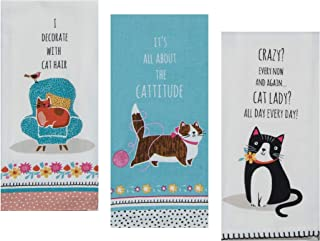 3 Cat Themed Decorative Cotton Kitchen Towels with Sayings Set | 1 Flour Sack, 2 Tea Towels for Dish and Hand Drying | by Kay Dee Designs