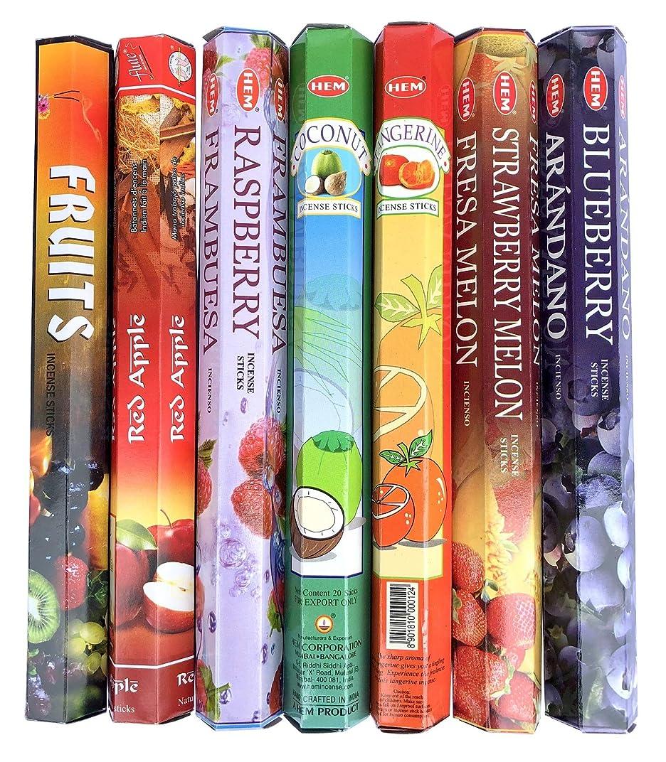軽減する日記フルートインド香 フルーツの香り7種類セット スティック 甘い香り HEM社等
