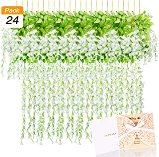 3.6 FT Wisteria Artificial Flowers Fake Hanging Wisteria Vine Ratta Silk Flowers for Home Wedding Party Decor, 24 Pieces