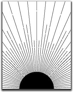 "Abstract Geometric Sun Wall Art Print - 11x14"" UNFRAMED Print - Modern, Minimal, Black And White Sunrise And Sunset Stripe..."