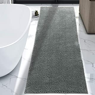 Lifewit Bath Runner Rug Chenille Area Mat Rugs for Bathroom Kitchen Entryway Bedroom Machine Washable Water Absorbent with Non-Slip Rubber Collection Shag Rug, 2'2 x 5'11, Grey