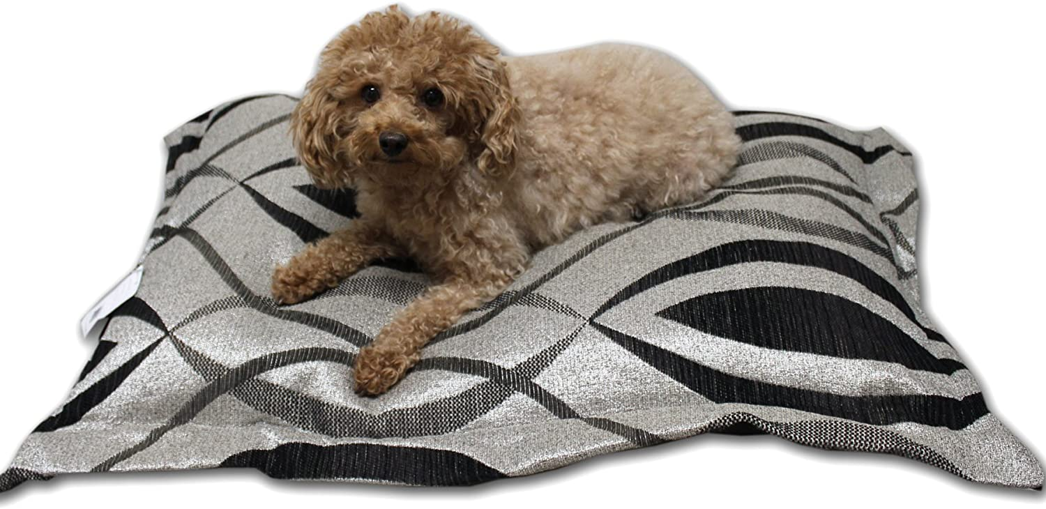 Anima Silver Black and Grey Woven Pillow with Removable Cover, 32 by 33Inch, Medium