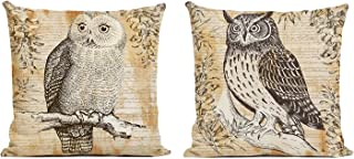 ArtKisser Just Pillowcase Animal Pattern Throw Pillow Case Square Linen Cushion Owl Pillow Covers with Zipper Durable Slipcover Home Decor for Bed Sofa Slipcover 18x18 inch,Set of 2