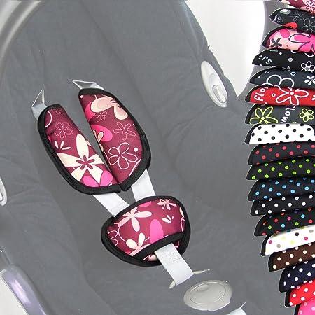 Bambiniwelt 3tlg Set Gurtpolster Schrittpolster Universal Für Babyschale Gruppe 0 Z B Maxi Cosi Römer Bordeaux Rosa Blumen Xx Baby