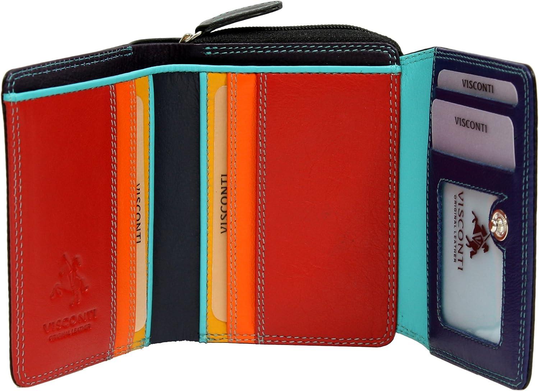 Visconti SP25 Liten flerfärgad Trifold Mjuk läderplånbok (svart Multi) Multi) Multi)  extremt låga priser