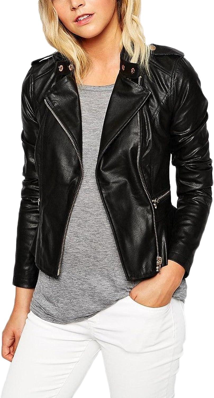 New Women Motorcycle Lambskin Leather Jacket Coat Size XS S M L XL XW596