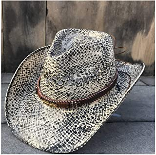 PengCheng Pang 100% Natural Straw Cowboy Hat Women Men Handmade Weave Cowboy Hats for Lady Tassel Summer Western Sombrero Hombre Lifeguard Hats (Color : 3, Size : 56-58CM)