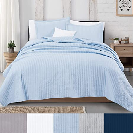 3 Piece Detailed Channel Stitch Quilt Set With Shams Baby Blue King Quilt Set All Season Bedspread Quilt Set Alicia Collection King Baby Blue Kitchen Dining