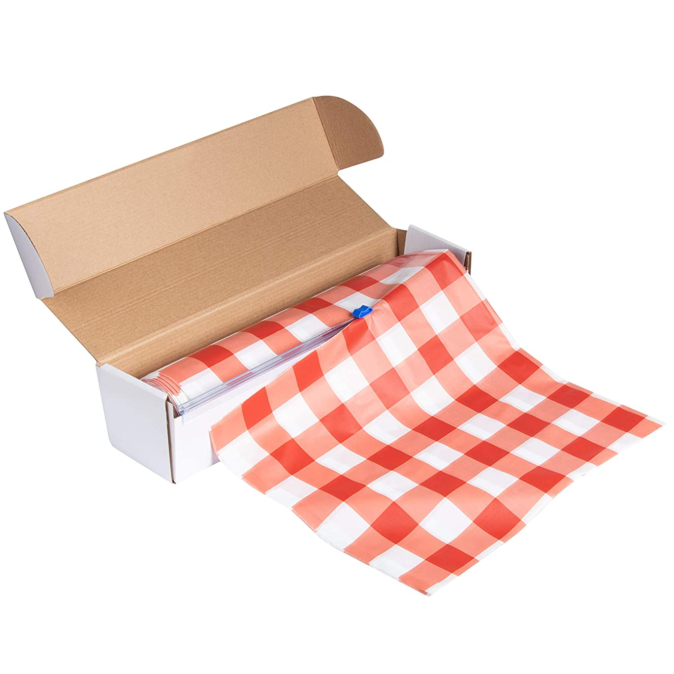 Red Plastic Tablecloth Roll - 98 Feet x 54 Inches Disposable Table Cover On a Roll with Self-Cutter Box Dispenser, Fits 4.5 Feet Wide Tables, Picnic, Indoor Outdoor Party Supplies, Red Gingham