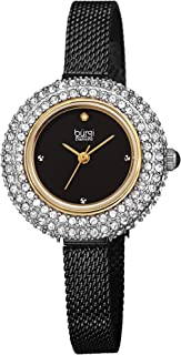 Burgi Swarovski Crystal Diamond Accented Watch - Sparkling Swarovski Crystals on Stainless Steel Slim Mesh Bracelet - Mothers Day Gift - BUR236