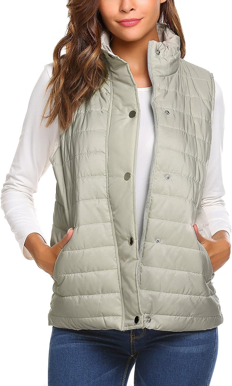 Beyove Women's Packable Lightweight Quilted Outdoor Puffer Vest Jacket Hooded Coat with Pocket