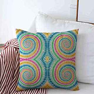 Staropho Pillow Covers Farmhouse Dye Blue Batik Tie Hippie Watercolor Abstract Vintage Boho Dress Effect Ethnic Hand Design Ikat Decorative Throw Pillow Covers 16