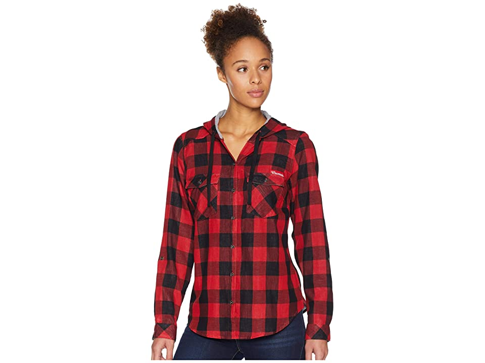 Columbia Collegiate Times Twotm Hooded Long Sleeve Shirt (WIS/Intense Red Check) Women