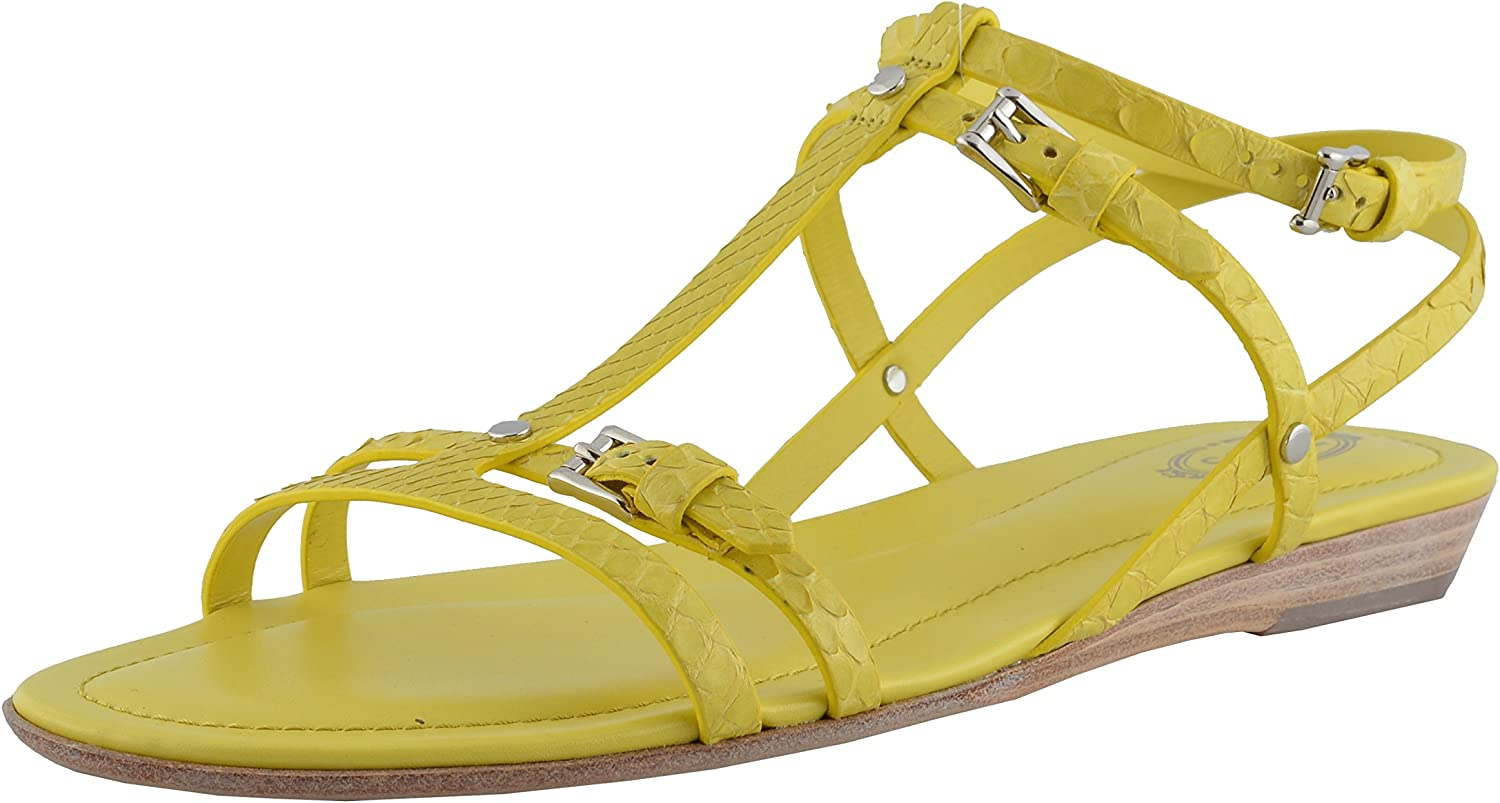 Tod's Women's Snake Skin Yellow Strappy Sandals shoes US 10 IT 40