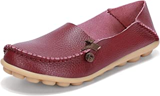 labato Women's Leather Loafers Breathable Slip on Driving Shoes Casual Comfort Walking Flat Shoes