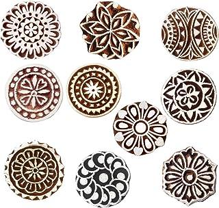 طوابع طباعة خشبية مستديرة من رويال كرافت (مجموعة من 10 قطع) - صناعة يدوية من نسيج الحناء ورق الطين كتل Htag2181