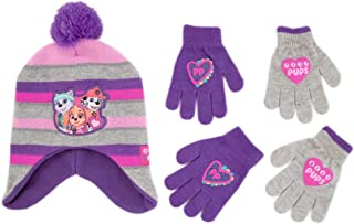 Little Girls Paw Patrol Character Hat and 2 Pair Mittens or Gloves Cold Weather Set, Age 2-7