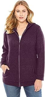 Roamans Women's Plus Size Thermal Hoodie Cardigan