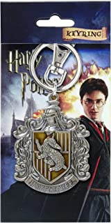 HARRY POTTER Hufflepuff School Crest Pewter Keychain