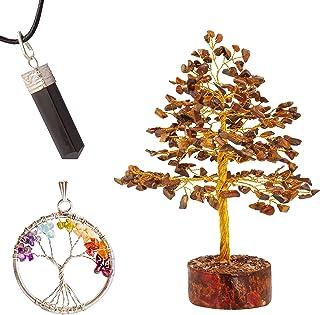 JAGASY Tiger Eye Gem Tree of Life Seven Chakra Pendant Healing Crystal Energy Generator Quartz Agate Good Luck Wealth Budd...