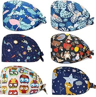 Fashion Bouffant Turban Cap Adjustable Unisex Hat Printed Soft Caps Hair Cover for Men Women 6 Pieces