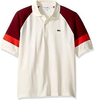 Lacoste Men's S/S TECHNIC Pique Colorblock Polo Classic FIT Shirt, geode/Pinot/SALVIA, 4XL